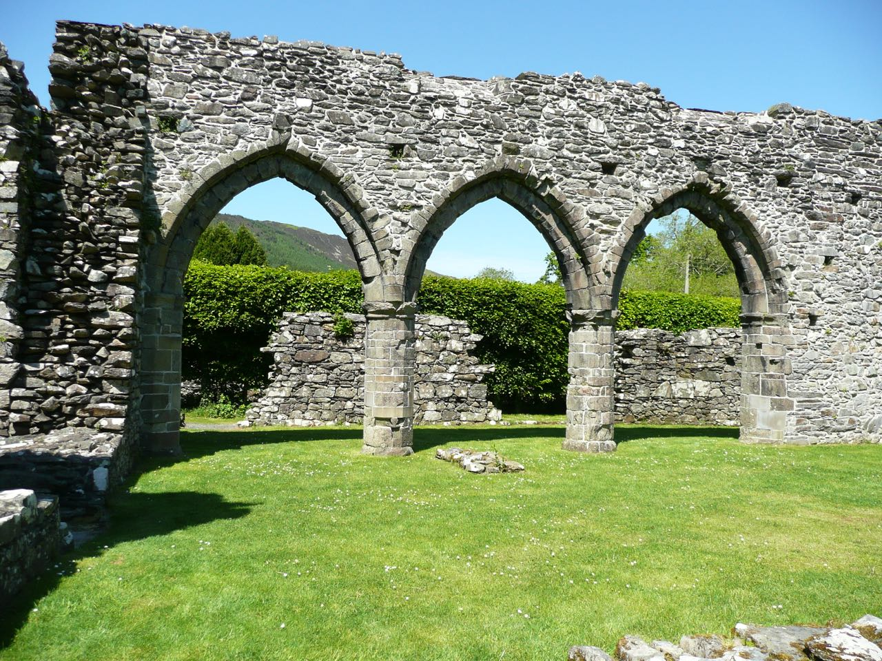 Cymer Abbey, Llanelltyd. Founded in 1198 by Maredudd ap Cynan for the Cistercian order