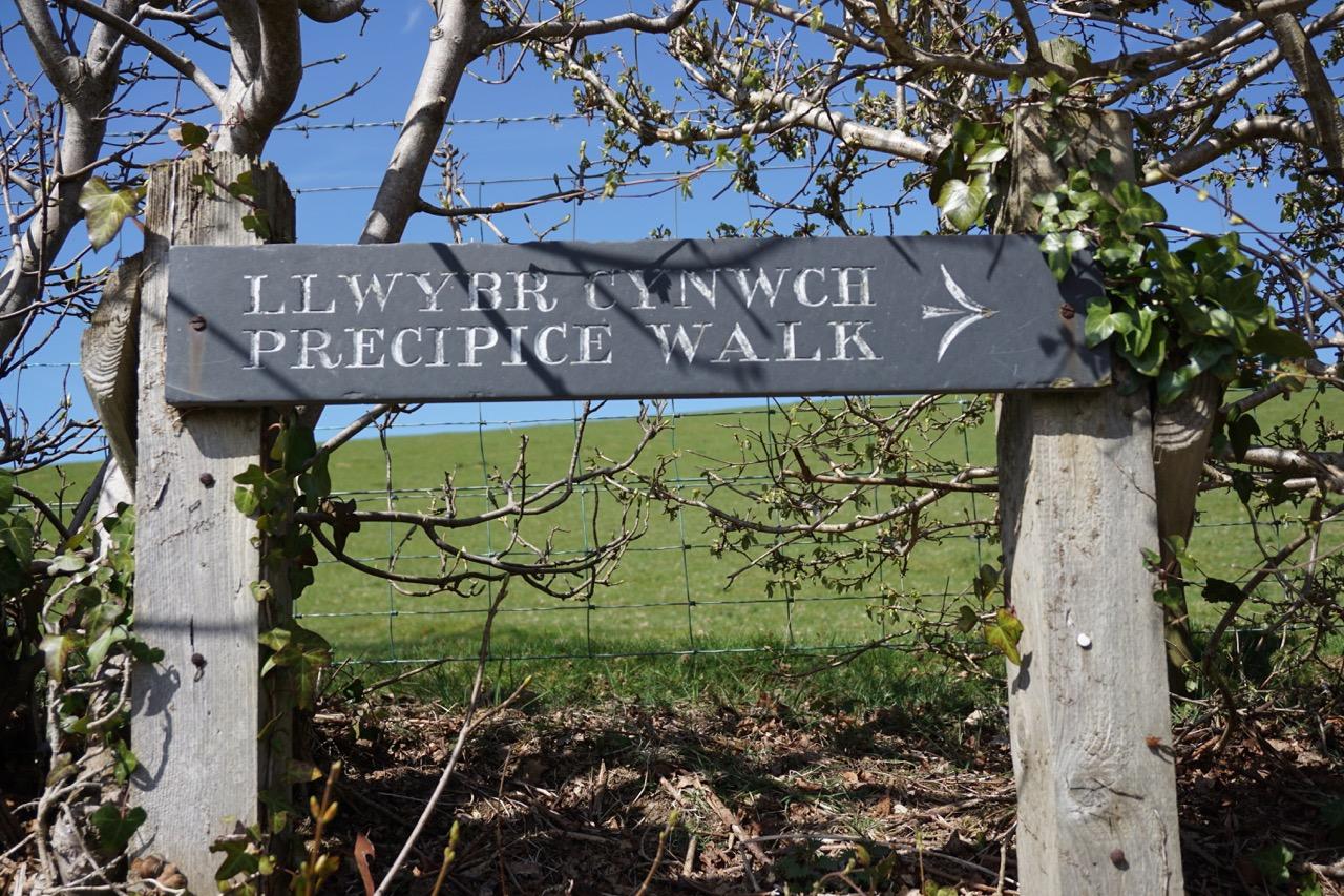 Sign for Precipice Walk (Llwybr Cynwch)